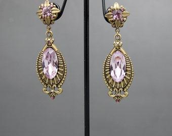 Vintage style swarovski earrings in light amethyst and brass
