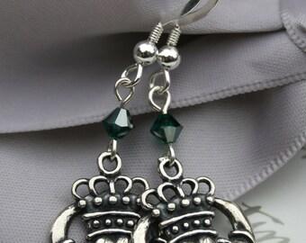 Irish Claddaugh Sterling Silver earrings