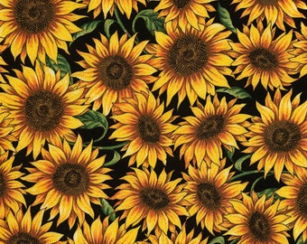 Packed Sunflowers, Timeless Treasures Fabric, C5453 Black, Sunflowers, English Garden, Cotton Floral, Quilting, Quilt, Fabric By the Yard