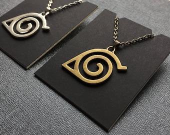 Naruto Shippuden necklace – Hidden Leaf Village emblem – symbol jewelry / jewellery – Naruto Uzumaki cosplay prop – convention accessory