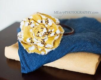 Willow- mustard Delia flower and rosette headband