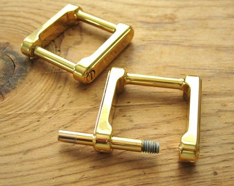 "3/4"" Screw In Gold Plated D Rings Square Replacement Purse Strap or Knife Dangler Hardware - Set of 2"