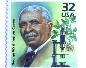 10 George Washington Carver Postage Stamps // African American Scientist // Green Postage Stamps for Mailing