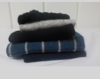Upcycled Felted Cashmere Sweater Pieces - Bluesy Gray and Black