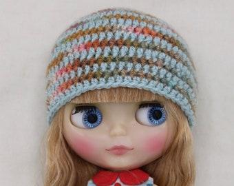 Crochet striped Blythe hat /beanie (blue/rainbow)