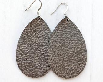 Gunmetal Leather Teardrop Earrings