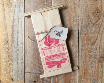S'mores Favor Bags - Hand Stamped in RED - 6 Favor Bags - Campfire Bonfire Outdoor Party - Ready to Ship