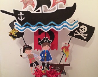 Pirate theme centerpiece with pail - Double sided