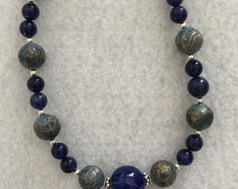 Lapis and Vintage Bronze Necklace
