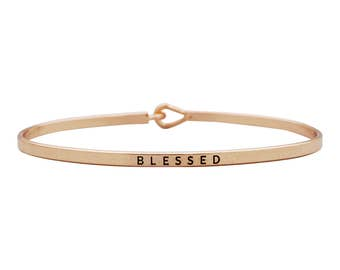 Blessed - Engraved bracelet, gift for her, stacking bangles, boho jewelry, thin bangle, layering, gift for wife, personalized, friendship