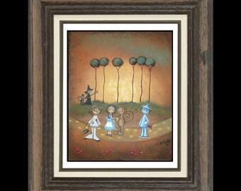 Wizard of Oz Art  Print Giclee - Whimsical Fairytale Art Print -- Surrender Dorothy