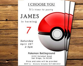 Pokemon invitation, Pokemon birthday invitation, Pokemon invitations, Pokemon Invite, Black