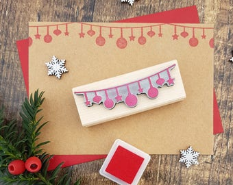 Christmas String of Baubles Rubber Stamp  - Christmas Stamp - Scrapbooking - Christmas Card Making - Banner Stamp - Bauble Bunting Stamp