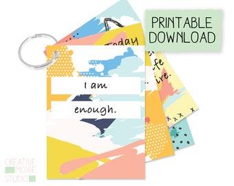 Affirmation cards - Printable affirmation cards - Self Love Affirmation Cards - Positive Cards - Happy Cards -  encouragement -  meditation