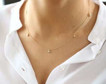 Diamond Solitaire Necklace/ Diamond Chain/ Diamond By The Yard/5 Station Micro Prong Diamond Necklace/ Dainty Diamond Solitaire Necklace
