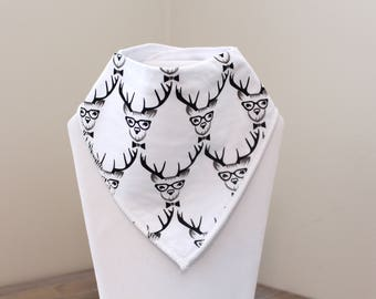 Geek Deer Baby Bandana Bib READY TO SHIP - Baby Drool Bib - Baby Shower Gift