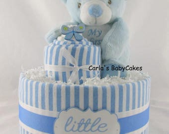Baby diaper cake | Baby shower gift | Baby sprinkle gift | Baby shower decoration | Teddy bear diaper cake | Boy baby shower centerpiece