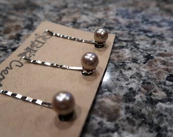 Champagner Perle Bobby Pin-Set - 3 Perle Bobby Pins