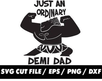 Just an ordinary demi dad svg, Moana Maui Fathers day pattern tail clipart svg eps png dxf - Fabric Cut Print Mug Shirt Decal Active