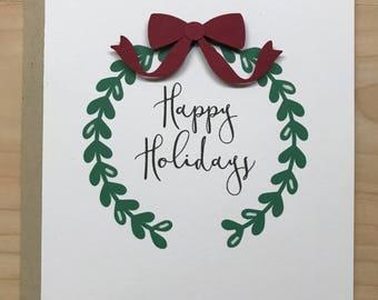 Happy Holidays Card, Happy Holidays Wreath, Blank Christmas Card, Happy Holidays Greeting Card