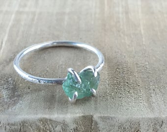 Silver Ring with Raw Blue Green Apatite  - Size 6.5