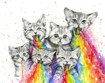 Kittens Puking Rainbows, Rainbow Vomit Animals, Funny Whimsical Animal Art Prints, Rainbow Watercolor, Colorful Animals, Cats, Happy Kittens