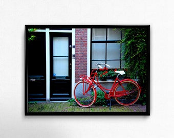 Rode Fiets - Red Bicycle - Amsterdam art print, Amsterdam photography, European wall art, Restaurant decor, Living room decor, Red and black