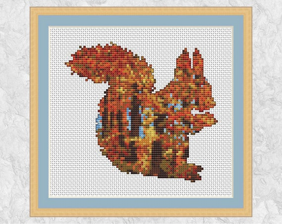 Autumn Squirrel Cross Stitch Pattern Fall Trees Counted Cross