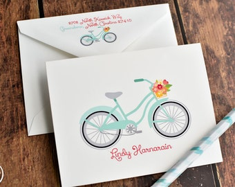Personalized Bicycle Stationery - Personalized Bicycle Note Cards - Bike Notecards - Bicycle Stationery - Aqua Bicycle Stationery Set