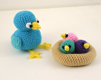 Bird with Nest Crochet Pattern, Bird Crochet Pattern, Chicks Crochet Pattern, Nest Crochet Pattern, Amigurumi Bird Pattern, Amigurumi Nest
