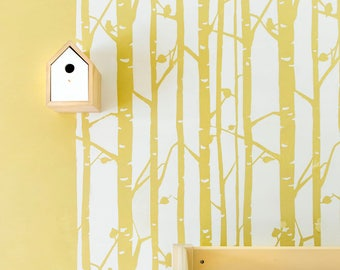 Birch Forest Wall Stencil - Scandinavian stencil and Birch wall decal for DIY project - Tree decal, Large wall stencil, Stencilit