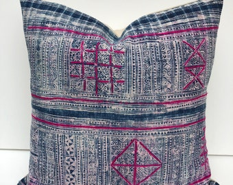 SALE!!! 22 inch RARE  Vintage Chinese Hmong batik pillow cover/ Yao Hill Tribe Hemp pillow cover