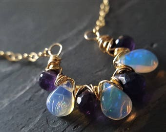 Opal And Amethyst Necklace, Ethiopian Opal, Purple Amethyst Necklace, Opal Necklace, Gold Filled Necklace, Wire Wrapped Necklace