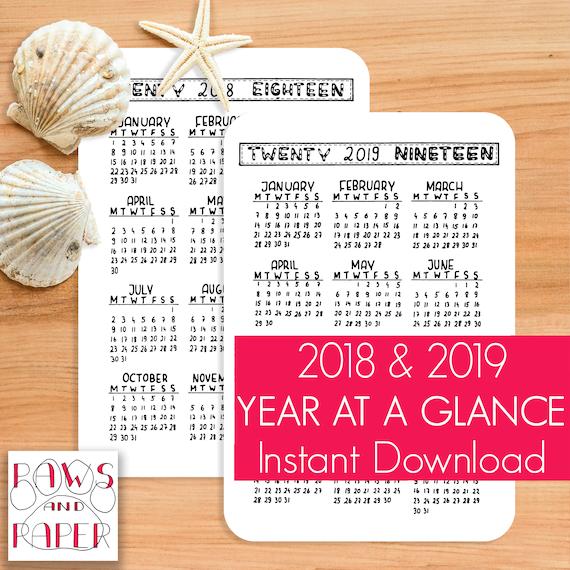 2018 2019 printable calendar year at a glance planner