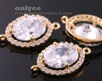 2pcs-18.5mmX11.5mmBright Gold plated (clear)LUX Cubic zirconia Oval Round Connectors(K1084G)