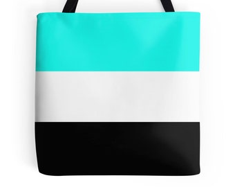 Aqua White Black Tote Bag, Aqua Black Purse, Aqua Black Tote Bag, Aqua Black Bag, Aqua Purse, Aqua White Tote, Aqua Bag, Aqua Black Bag