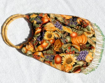 Bead Fringed Purse Bag Tote With Round Bamboo Handles Fully Lined In Fall Design of Grapes Pumpkins Flowers