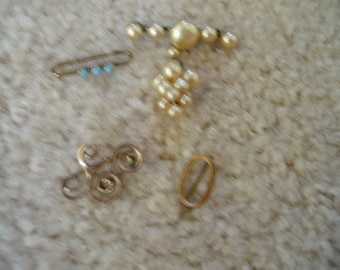 Antique Tiny Brooches. scatter pins, turquoise.  Marked down