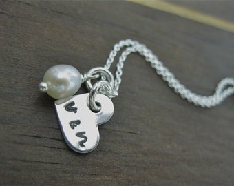 Personalized Hand Stamped Sterling Silver Necklace Pearl of Love