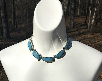 Blue and Gold Choker Necklace, Collar Necklace, Blue Necklace, Mod Necklace, Wedding Jewelry, Bride Necklace, Something Blue, Thermoset