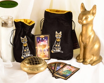 Bastet - All Natural Cotton Velvet and Silk Tarot, Oracle, or Crystal bag