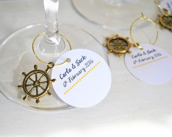 10 Personalised Wedding Name Cards with Nortical Golden Charms