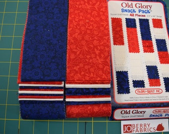Red, White and Blue 2.5 by 44 inch Strips from the Old Glory Collection by Fabri-Quilt. JoBerry Fabrics.