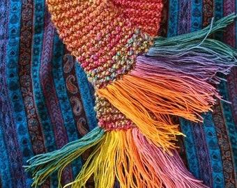 Hand knitted rainbow scarf-vegan yarn :)