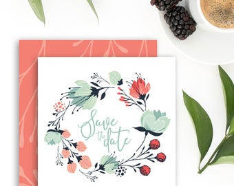 Floral Wreath Save the Date Printable Save the Date Cards Instant Download Wedding Save the Date Calendar Wedding Announcement Personalized