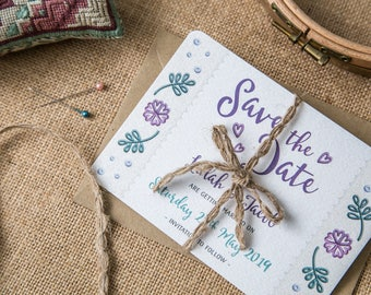 SAMPLE - Save the Date Wedding Invitation Floral Embroidery