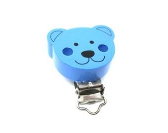 Wooden bear - blue pacifier clip