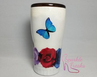 Butterflies and Roses Stainless Steel Tumbler