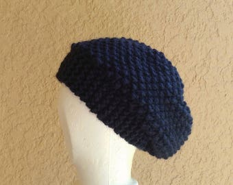 Slouch Hat band brim beanie stocking cap or beret navy blue, hand knit, textured