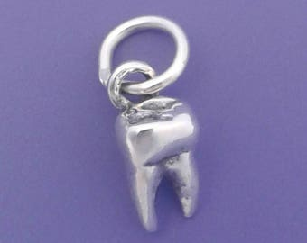 Molar TOOTH Charm .925 Sterling Silver Dentist Small Pendant -f4268